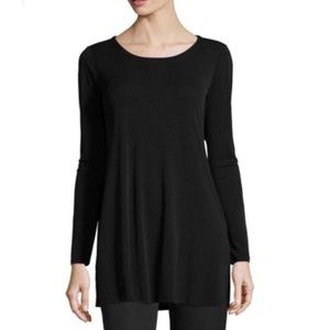 EILEEN FISHER Silk Black Long Sleeve Tunic XS